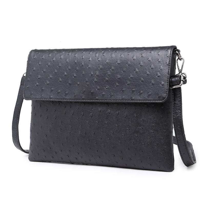 2016 Fashion Ostrich Bag Leather Messenger Satchel Shoulder Bag Black Men Clutch Business Briefcase Men Handbag Envelope Bag(China (Mainland))