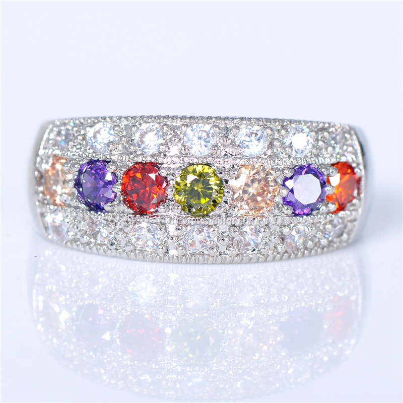 90% OFF! 925 Sterling Silver Jewelry Red Purple Zircon Wedding Rings for Women White Gold Filled Colorful Stone Crystal Ring(China (Mainland))