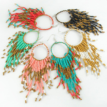 Fashion Vintage Bohemian Ethnic Women Color Tassel Earring Beads Pendent Temperament Summer Earring for Women Jewelry Wholesale(China (Mainland))