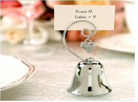 wedding decorations party favor -- Kissing Bell Place name table Card holder with Dangling Heart Charm 20pcs/lot(China (Mainland))