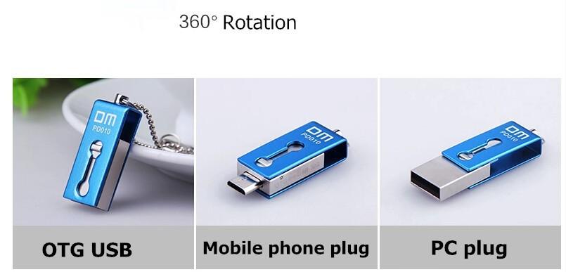 DM PD010 USB Flash Drive 16G OTG Smartphone Pen Drive Micro USB Portable Storage Memory Metal waterproof USB Stick Free shipping