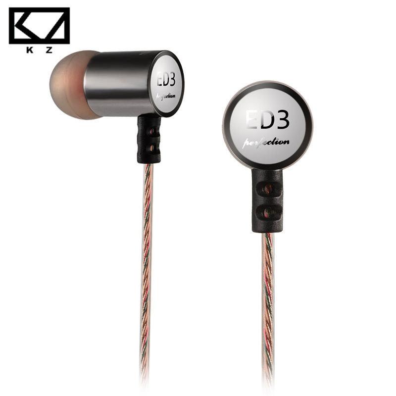 100 Original KZ ED3 Metal Headphone Ear Headphones Bass Headset Phone Audifonos Music Earphone Fone De Ouvido HIFI Headphones