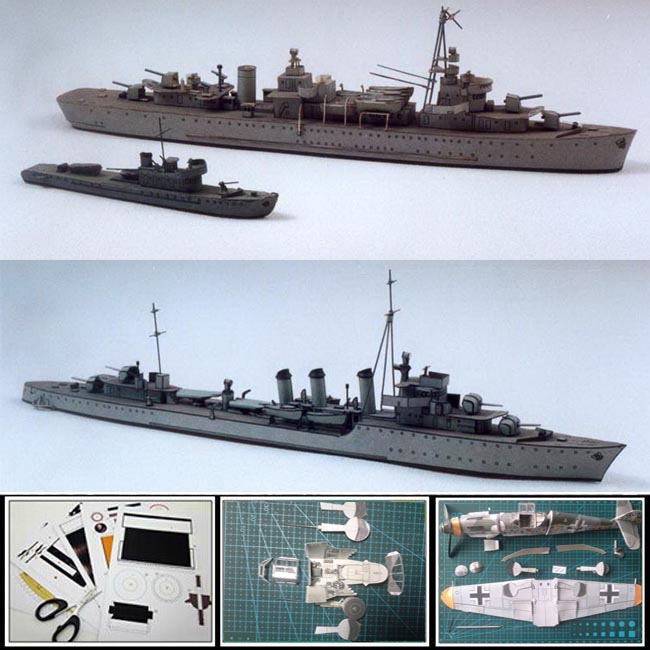 New Paper Model battleship Polish ships GRYF 258mm long, WICHER 268mm, JASKOLKA 113mm 1:400 scale 3d puzzle military papercraft(China (Mainland))