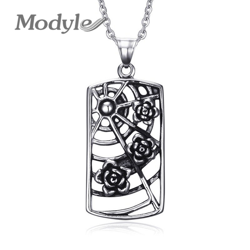 Modyle Cobweb Shaped Necklaces& Pendants for Women and Men Jewelry Trendy Black Rose Flowers Necklaces Female(China (Mainland))