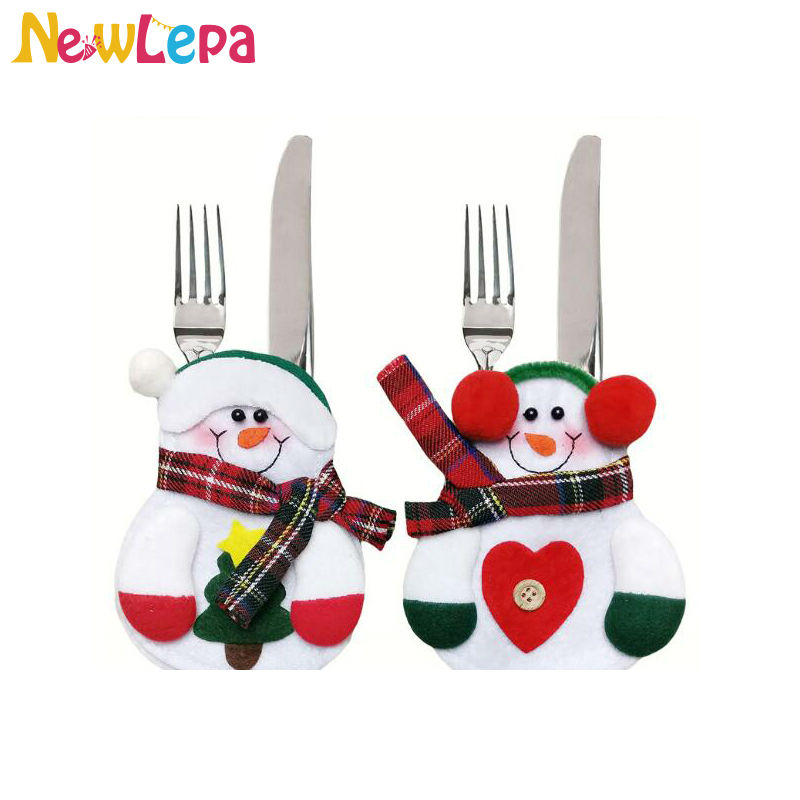 lovely Snowman Kitchen Decor #9: 8pcs Christmas Snowman Kitchen Cutlery Suit Silveware Holders Porckets  Knifes Folks Bag Decoration Natal Adornos Navidad
