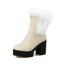 new winter Russia keep warm fur snow boots platform down winter boots women abkle boots square high heel boots(China (Mainland))