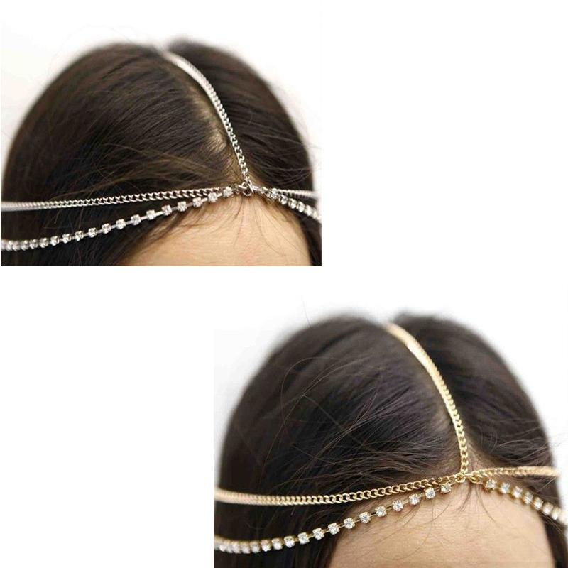 1pc Stunning Beautiful Rhinestone Metal Head Chain Headband Headpiece Hair Band Gift(China (Mainland))