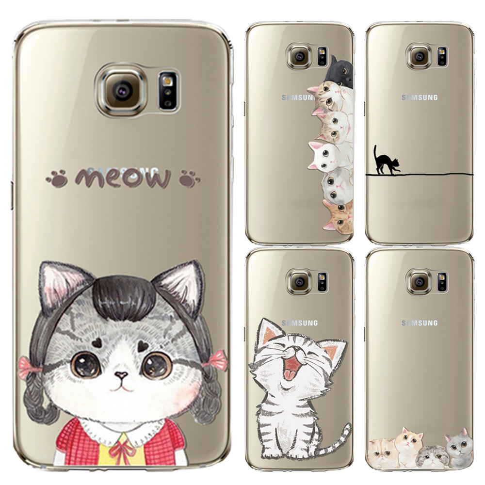 Ultra Thin Soft Silicon Phone Case For Samsung Galaxy S6 G9200 Clear Transparent Cover Painted Cute Cat Pattern Mobile Phone Bag-in Phone Bags & Cases from Phones & Telecommunications on Aliexpress.com | Alibaba Group