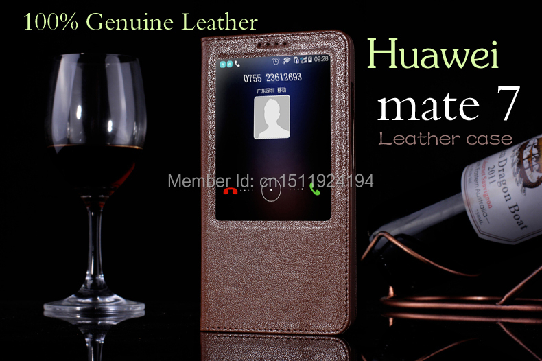 Real Leather Manufacturing Huawei mate 7 cover fashion window display flip mobile phone sets Huawei mate7 case Retail wholesale(China (Mainland))