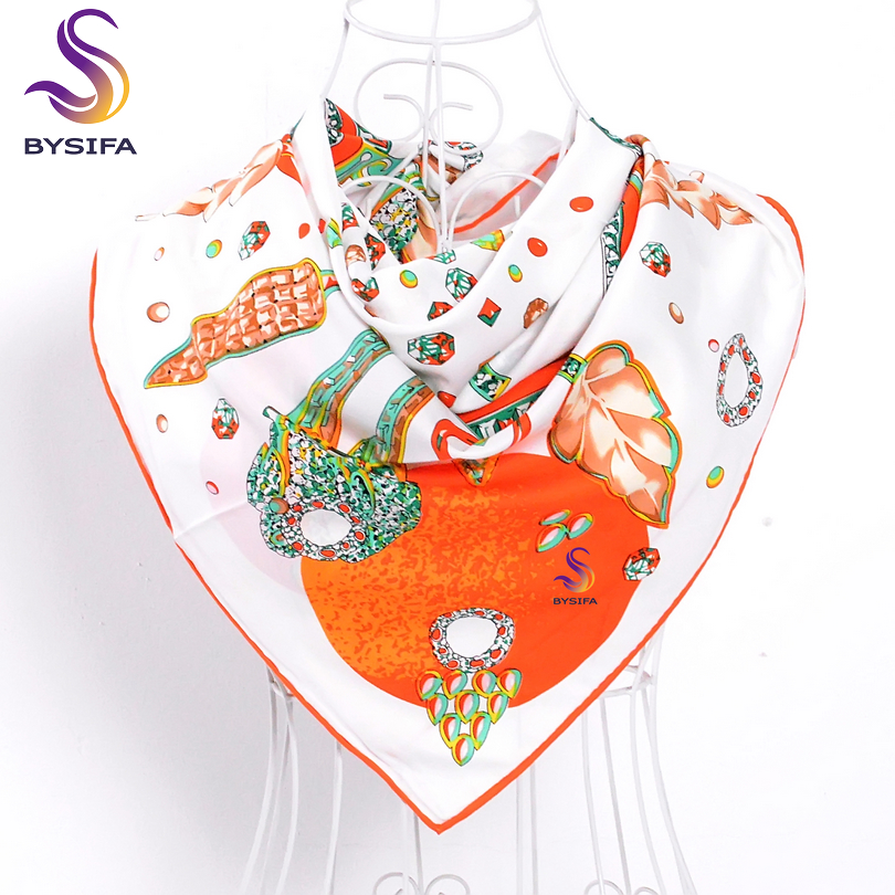 [BYSIFA] Orange White Twill Silk Scarf Wraps 2017 New Brand Ladies Large Square Scarves Muslim Head Scarf Spring Autumn Scarf(China (Mainland))