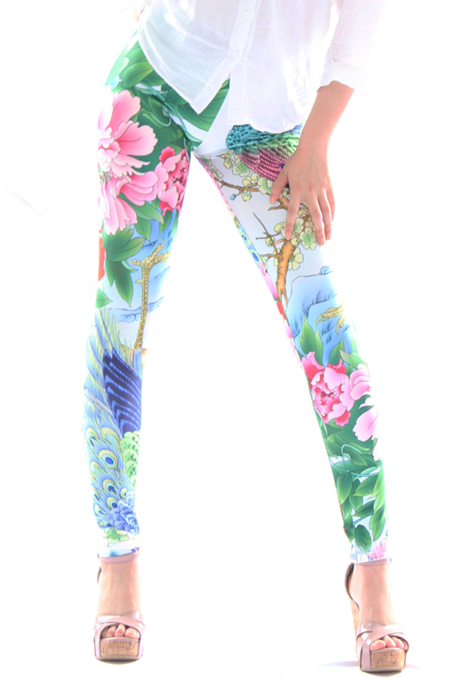 Free Shipping,New Arrivals Punk Begonia And Peacock Feather Legging #167 Jeans Jeggings,Womens/Ladies Pants(China (Mainland))