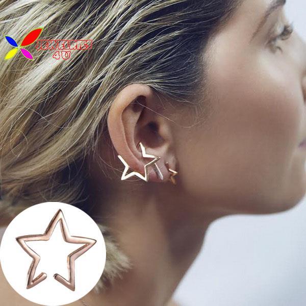 2015 new arrival ear cuff fashion punk gold silver black open star non-pierced cuff earrings for women boucles bijoux brincos(China (Mainland))