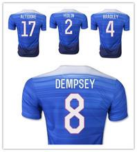 Free Custom 2015 America Soccer Jerseys Blue DEMPSEY Yedlin ALTIDORE Tim Howard Football Shirts 15/16 Soccer Jerseys S-XL(China (Mainland))