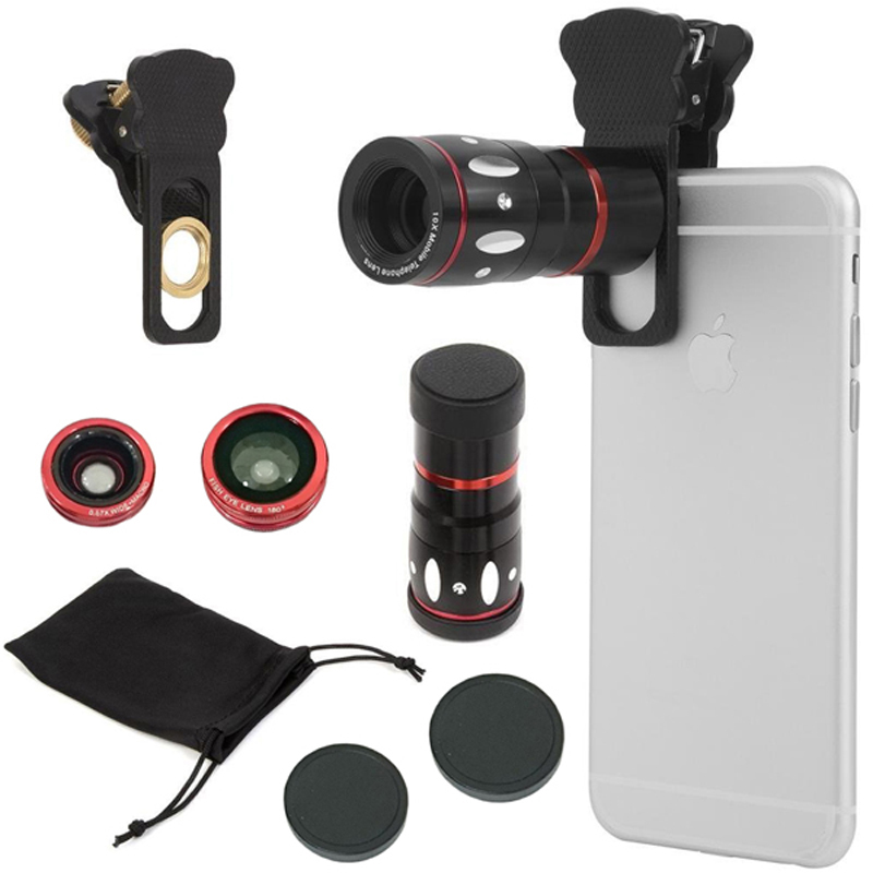 4-in-1 Universal Clamp Clip Camera Lens Kit Set Fish Eye/Micro Lens for Samsung iPhone and Any other Smart Phone