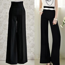 High Quality New Arrival Women's Formal Office Style Wide Leg Slim High Waist Pants Long Trousers Free Shipping 50(China (Mainland))