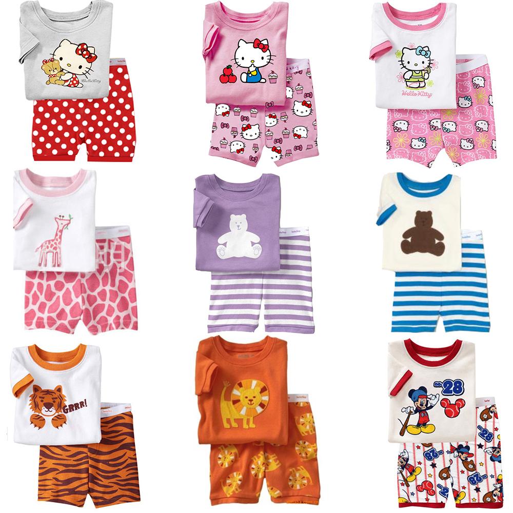 2015 Hot Summer Kids Clothes Baby Boys Girls Clothing Hello Kitty Costume Short Sleeve Pijamas Childrens Sleepwear Pajamas Sets(China (Mainland))