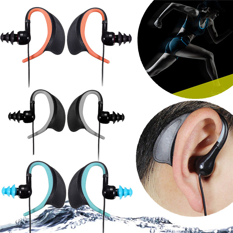 2015 New 3.5mm Audio Jack Sports Headset Earphone IPX8 Waterproof Headphones for MP3 MP4 Player for Ipods for Mobile Phones(China (Mainland))