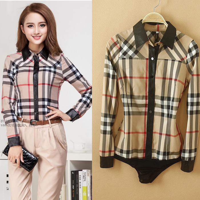 New vogue Spring OL Long Sleeve Body Shirt Slim Plaid leopard stripe Casual Women Bodysuit shirts many style(China (Mainland))
