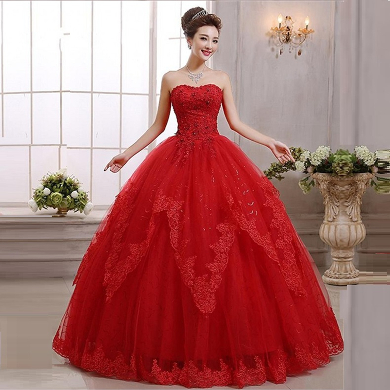 Plus size red lace wedding dress the for Wedding dresses color red