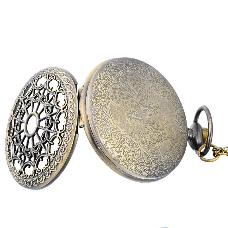Mechanical 1PC Classic Vintage New Bronze Tone Necklace Watch Pocket Watch Battery Hollow