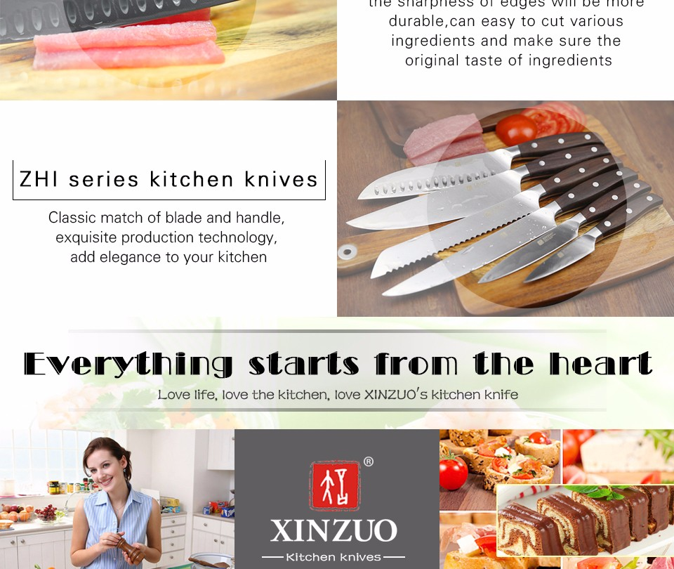 Buy XINZUO kitchen tools 6 PCs kitchen knife set utility cleaver Chef bread knife stainless steel Kitchen Knife sets free shipping cheap