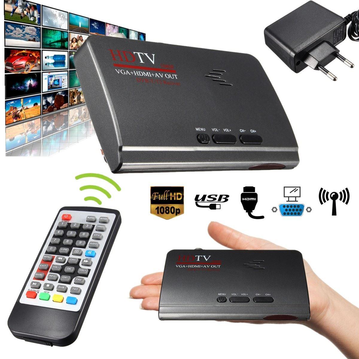 1080P Full HD HDMI DVB-T T2 TV Box VGA/AV Tuner Receiver Converter With Remote Control(China (Mainland))
