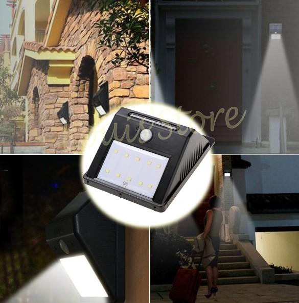Outdoor Led Solar Lights For Garden Waterproof 10 Led Solar Power Light Motion Sensor Wall Lamp 24(China (Mainland))