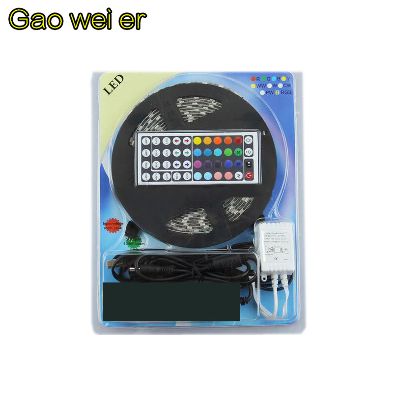 Automobile chassis lamp decoration waterproof article 5050 RGB LED 5 meters 300 LED SMD 44 key infrared remote controller(China (Mainland))