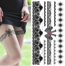 1 шт. водонепроницаемый временные татуировки наклейки на нога переброска воды сексуальные кружева чулок поддельные флэш-тату для женщин девушки(China (Mainland))
