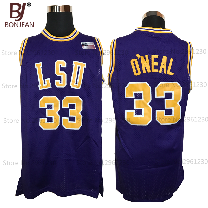 Cheap 33# Shaq O'NEAL COLE High School Basketball Jersey Shaquille Oneal Stitched Throwback Shirts 3 Color Free Shipping(China (Mainland))