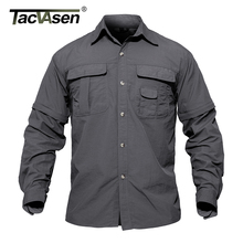 Buy TACVASEN Men's Brand Army military Shirt Men Removable Quick Dry Breathable Tactical Shirt Summer Traveling Long Sleeve Shirts for $18.15 in AliExpress store