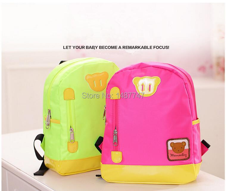 Retail -2015 new Children School Bag Cartoon Animal Canvas Backpack Baby Toddler Kids Leather Shoulder Kindergarten Schoolbag(China (Mainland))
