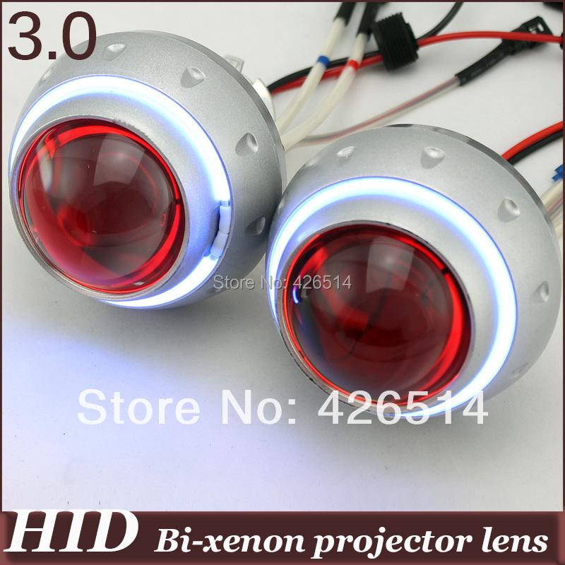 3'' inch  35w 3000k-12000k 3200lm H1 H7 9005/6 Bi-xenon  Projector Lens CCFL Angel Eye+ Devil Eye general installation 3GB