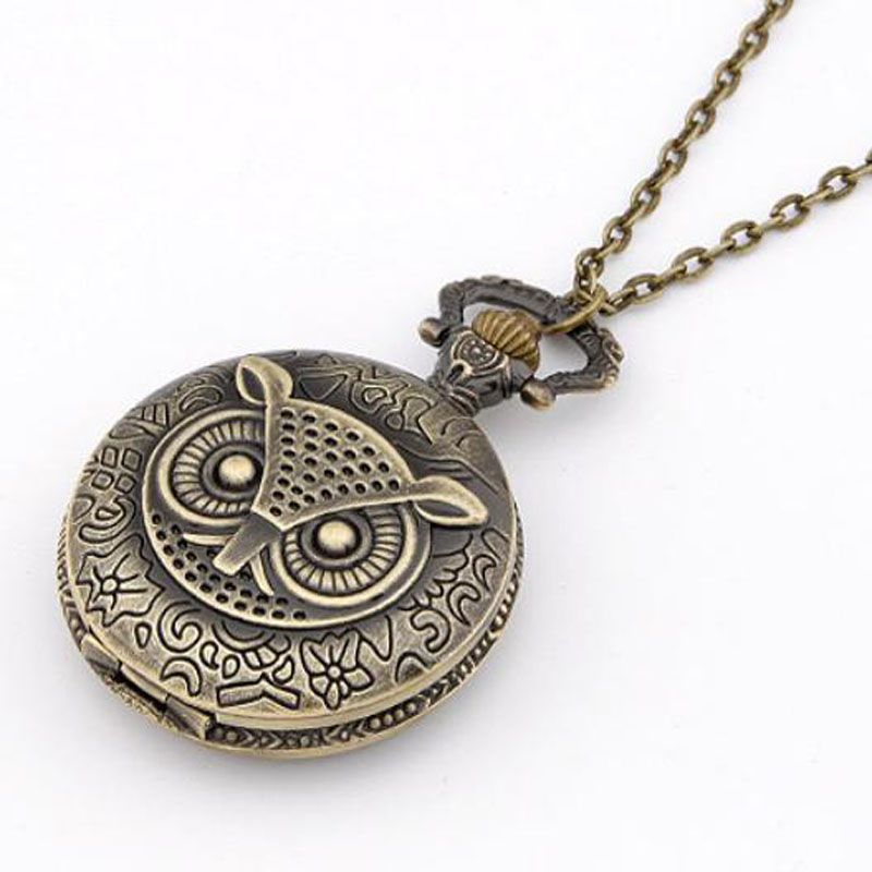 Hot Selling Bronze Vintage Pocket watch Owl Pendant Necklace Steampunk Fob Pendant Free Shipping Wholesale(China (Mainland))