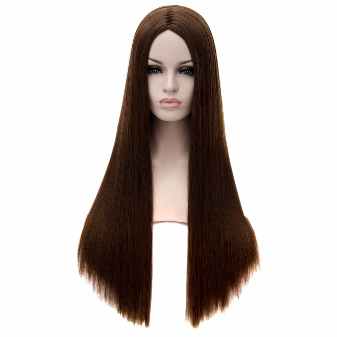 Women New Dark Brown Central Parting Long Straight Hairstyle Full Charming Wigs<br><br>Aliexpress