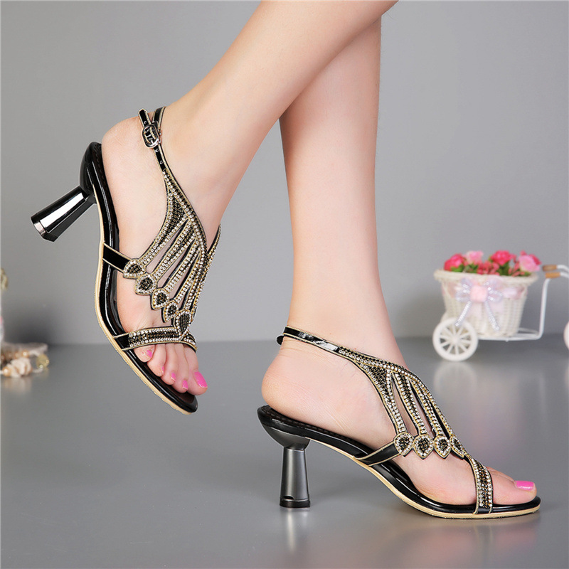 Luxury Brand Sexy High Heels Shoes 2016 Summer New Sandals Diamond Female Genuine Leather Shoes Party Pumps For Women Buckle