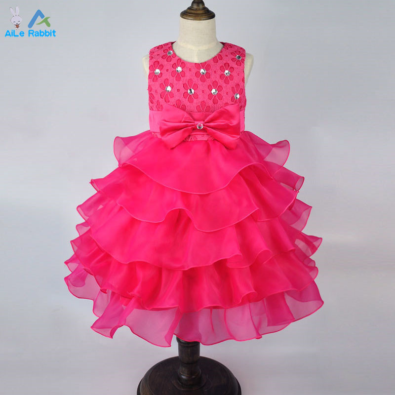 2016 New Brand Girl Dress Summer 3-8 Years Floral Baby Girls Dress Vestidos 6 Colors Wedding Party Baby Clothes Free Shipping(China (Mainland))