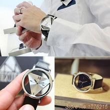 New ArrivalUnisex Charm Glass Hollow Triangle Dial Faux Leather Analog Quartz Wrist Watch