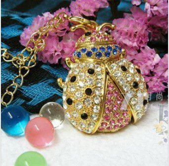 Hot Crystal Beetle Necklace USB 2.0 Flash Memory Stick Pen Drive 4GB 8GB 16GB 32GB