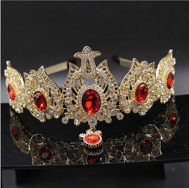 KOREAN luxury crystal headband Gold crown diademe mariage tiaras and crowns for wedding bridal hair accessories free shipping(China (Mainland))