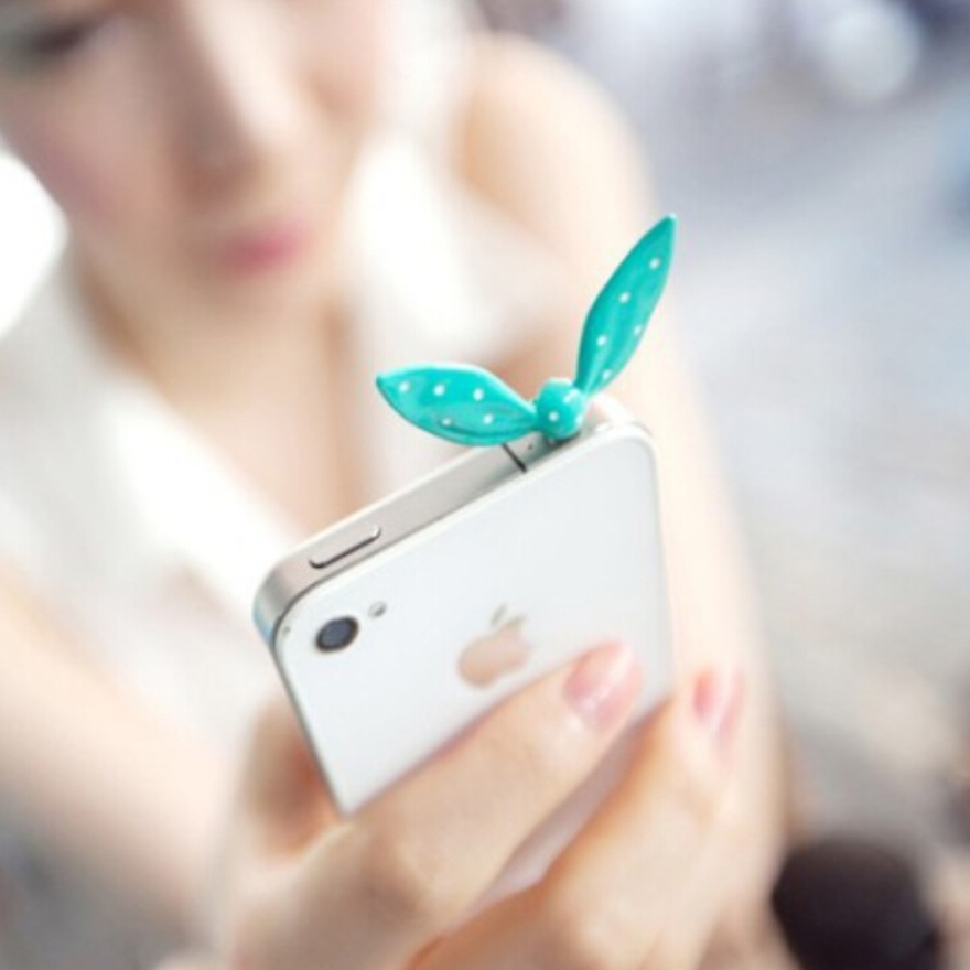 New 1* Cell Phone Rabbit ear Type Anti-Dust Plug Earphone Dustproof Cover Stopper Cap freeshipping(China (Mainland))