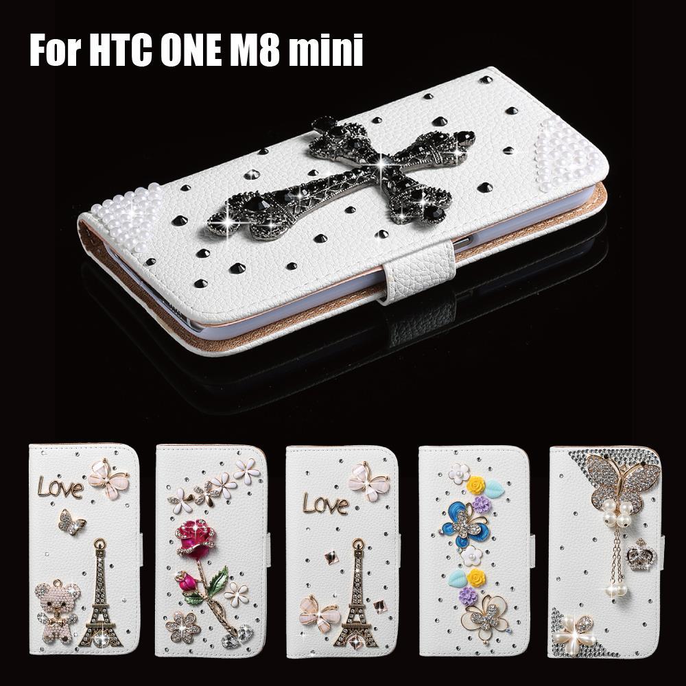 Fashion 3D Rhinestone Diamond Crysta Vintage Style 3D Black Cross Case Cover For HTC One Mini 2 (M8 mini)(China (Mainland))