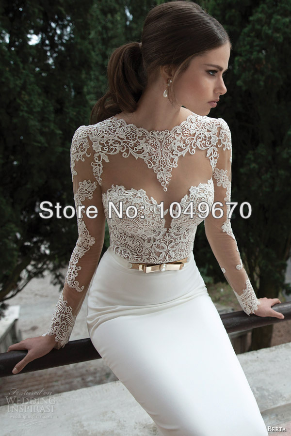 New Fashion 2014 Scoop Neckline Long Sleeve Wedding Dress Charmeuse With Belt Beaded Backless Long Gowns N512(China (Mainland))