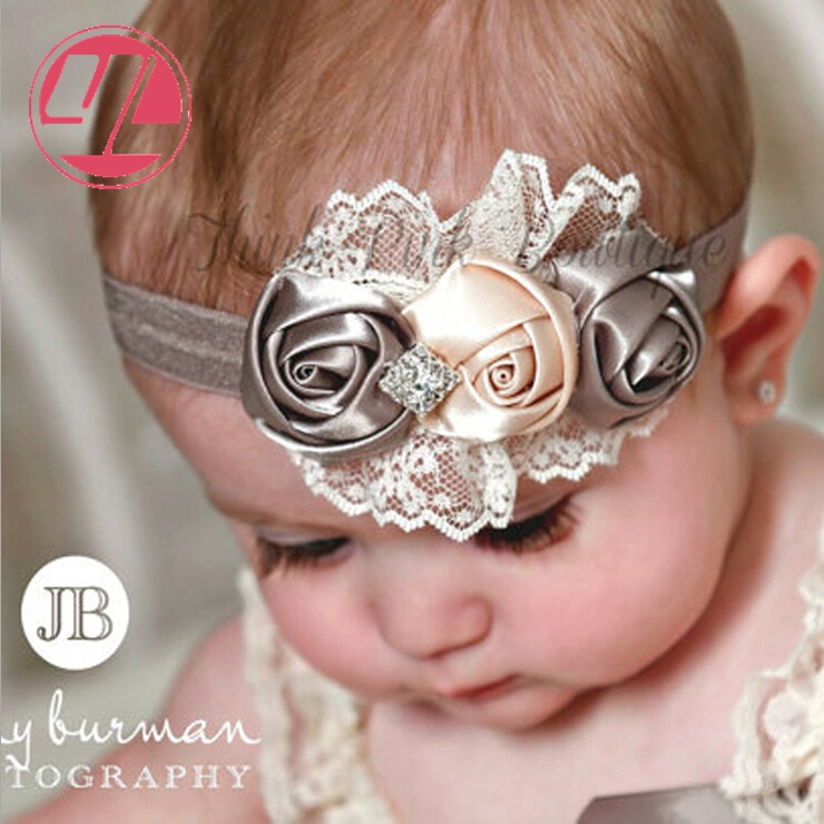Fashion Style Roses Bow Baby Girls Kids Headband Bow Lace Headband Flower Headweart Children Girls Hair Accessories 582(China (Mainland))