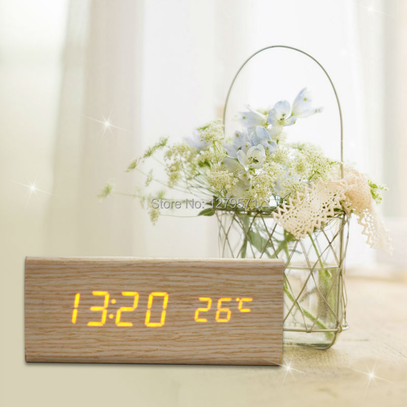 Sound Control Solid Wooden Desk Bedside Digital Alarm Clock Orange Light(China (Mainland))