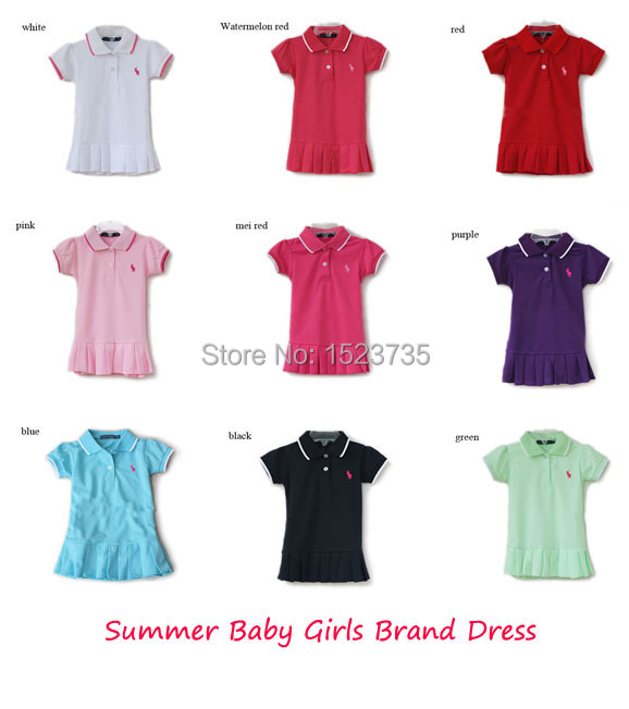 2015 Summer Children Dresses Baby Girls Polo Brand Dress 9 color available Kids Tennis sport clothing toddler cute dress(China (Mainland))