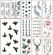 1 Sheet Trendy Tattoos 3D Butterfly Waterproof Temporary Tattoo Sticker Lotus Flower Deer Black Flash Tattos Women Arm WTAooo2(China (Mainland))