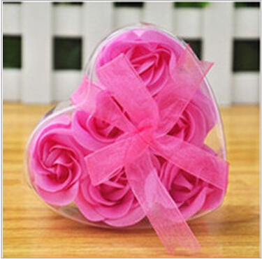 fashion portable scented rose soap flower Scented Bath Soap Rose Soap flower Petal in Heart Box free shipping random color(China (Mainland))