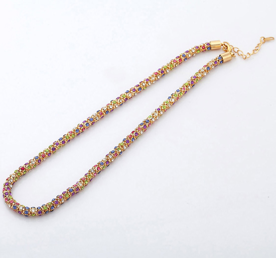 Trendy 18K Real Gold Plated Link Chain Free Shipping Fashion Jewelry Men/Women two size glitter rhinestone chain N507(China (Mainland))