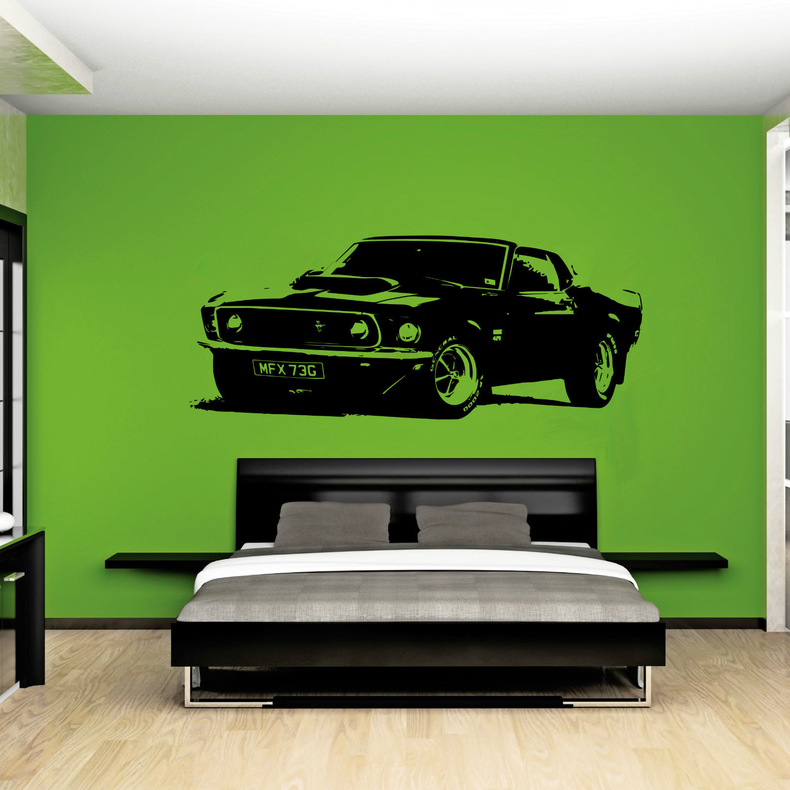 W211 XL Large Car Ford Mustang 1969 Muscle Free Squeegee! Wall Art Decal / Sticker home decor(China (Mainland))